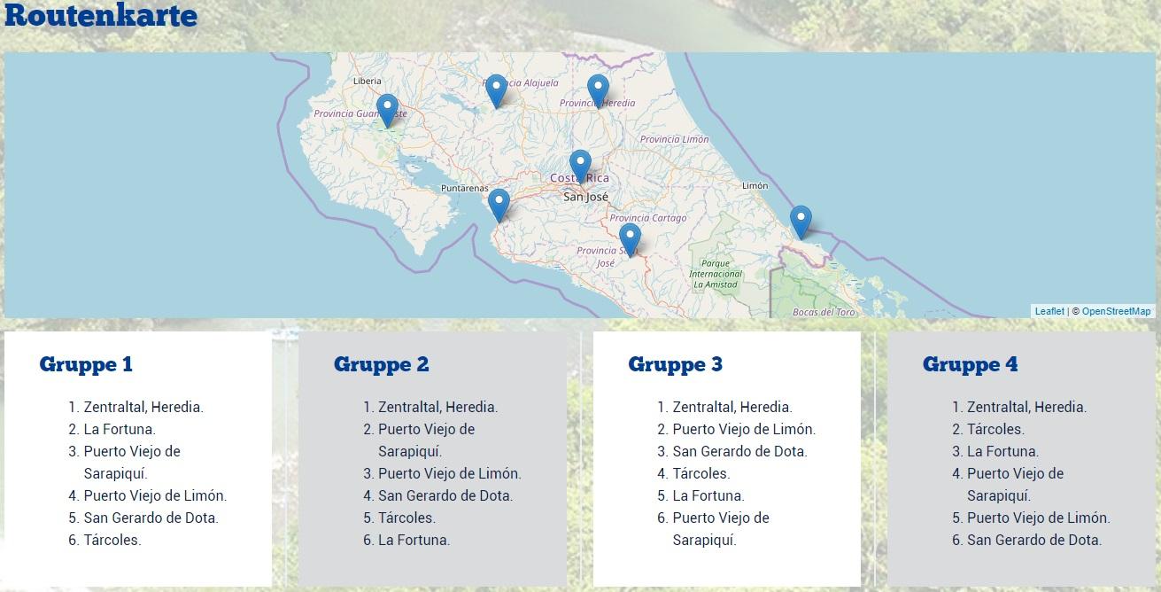 Landkarte zum Costa Rica Birding Contest