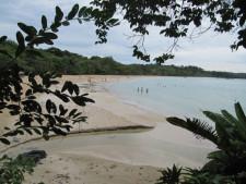 Man sieht den Red Frog Beach der Boca del Toros, wo Menschen baden