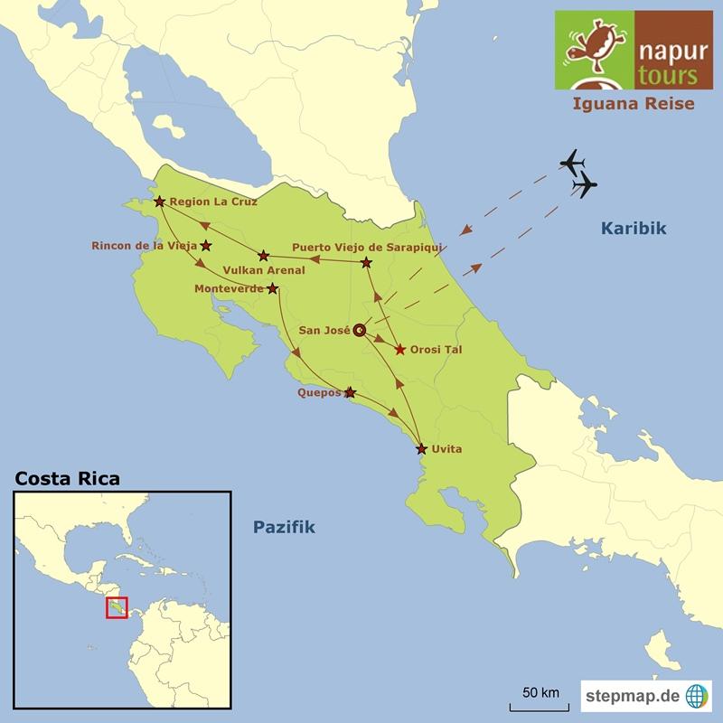 Costa Rica Naturreise Karte