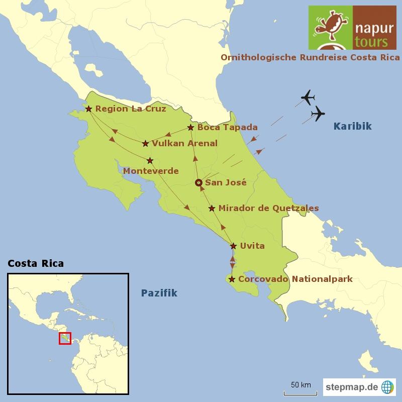 Landkarte mit der Route der Ornithologischen Costa Rica Reise