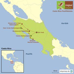 Route auf der Karte: Costa Rica Pazifikküste