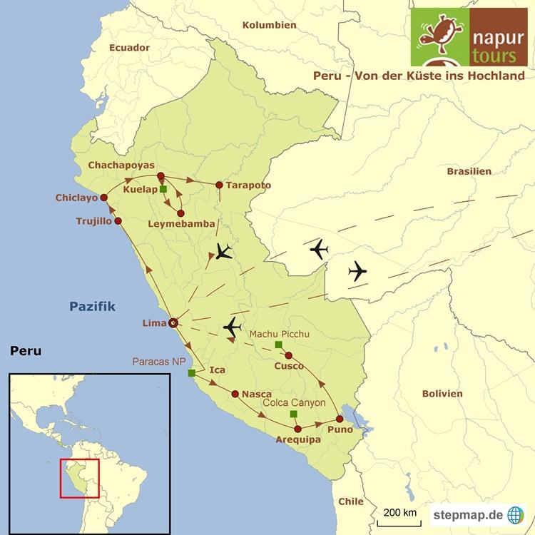 Landkarte mit eingezeichneter Route der Peru Rundreise
