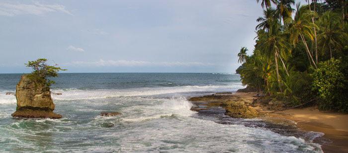 Ein karibischer strandabschnitt. ein Fels steht circa zehn Meter mitten im Meer.
