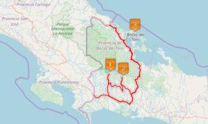 Panamas Westen auf der Landkarte als Route