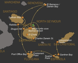Route A vom Expeditionsschiff Galaven auf Galapagos