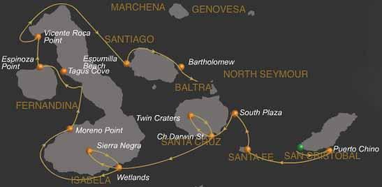 Route B vom Expeditionsschiff Galaven auf den Galapagos Inseln