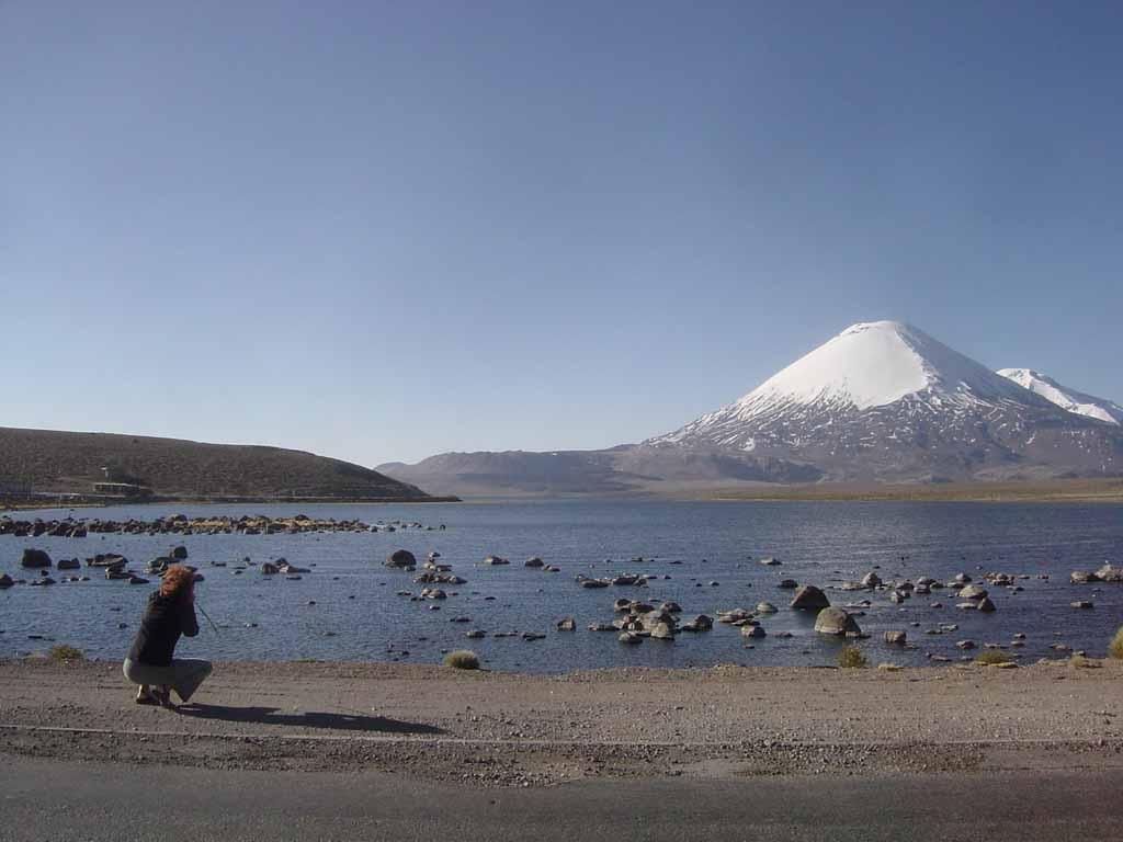 Besuchen Sie den Chungara See mit Blick auf den Vulkan Parinacota