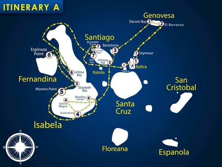 Karte der Route A vom Segelkatamaran Nemo 1