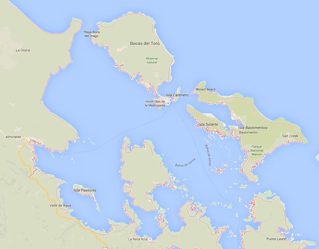 Karte der Inseln Bocas del Toro