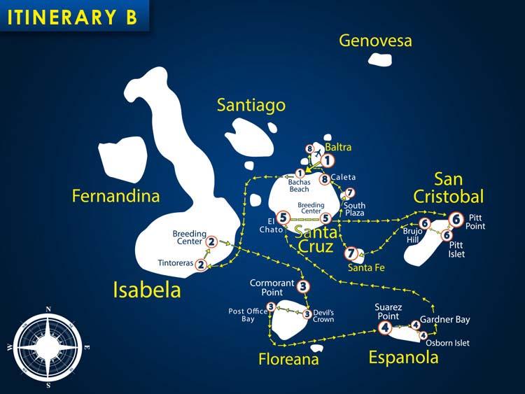 Karte der Route B4 + B5 vom Segelkatamaran Nemo 1