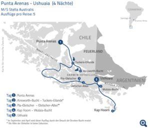 Route Crucero Australis von Punta Arenas nach Ushuaia