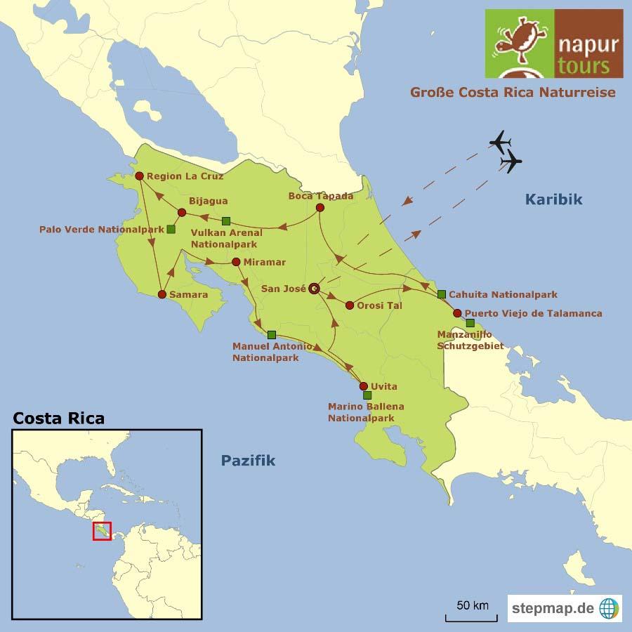 Routenverlauf der Naturreise auf der Landkarte