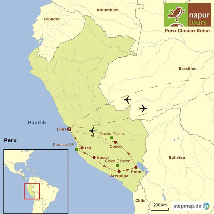 Landkarte mit Routenverlauf der Peru Clasico Reise