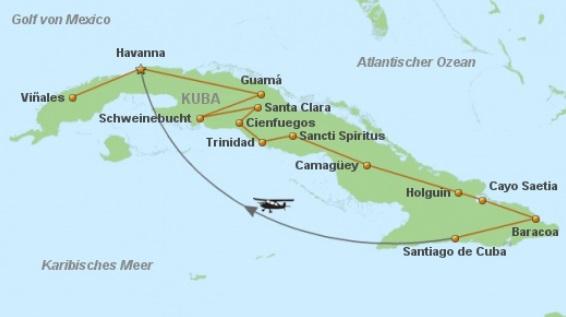 Kuba Rundreise Karte der Route