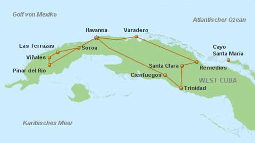 Landkarte Kleine Kuba Reise