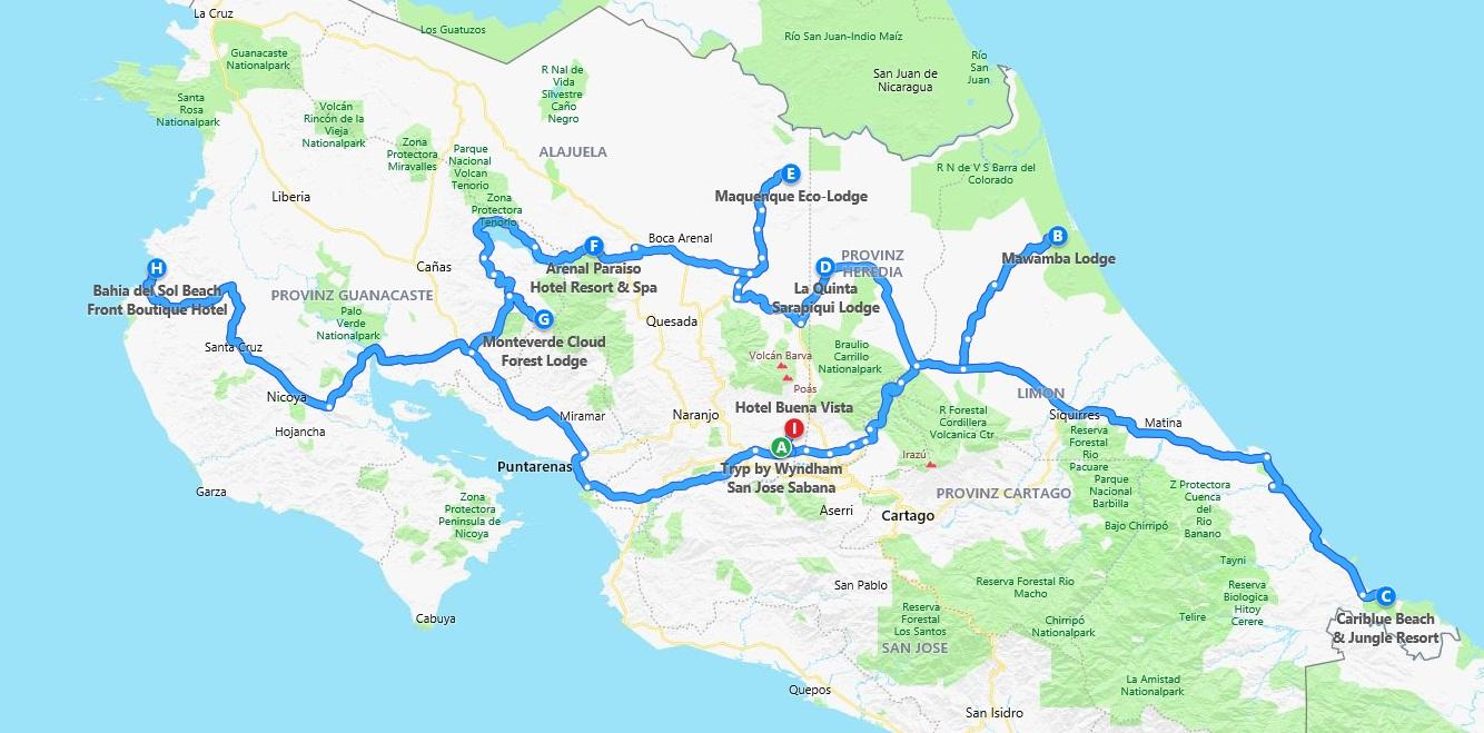 Route der Costa Rica Reise mit Kindern