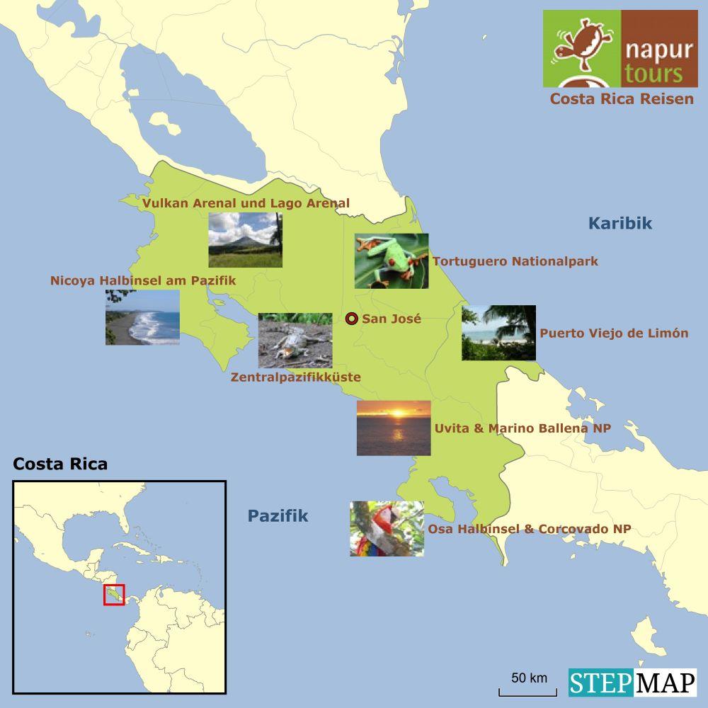 Costa Rica Karte Mittelamerika.Karte Costa Rica Reisen Von Napur Tours Deutscher