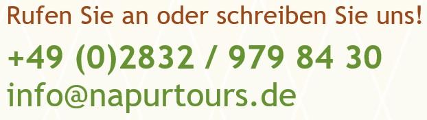 Rufen Sie napur tours an unter 02832 979 84 30.