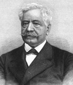 Der Erbauer des Panamakanals: Ferdinand de Lesseps. Das Schwarz-Weiß-Foto zeigt Lesseps mit schütterndem Haar und Anzug. Alter: Etwa 60 Jahre